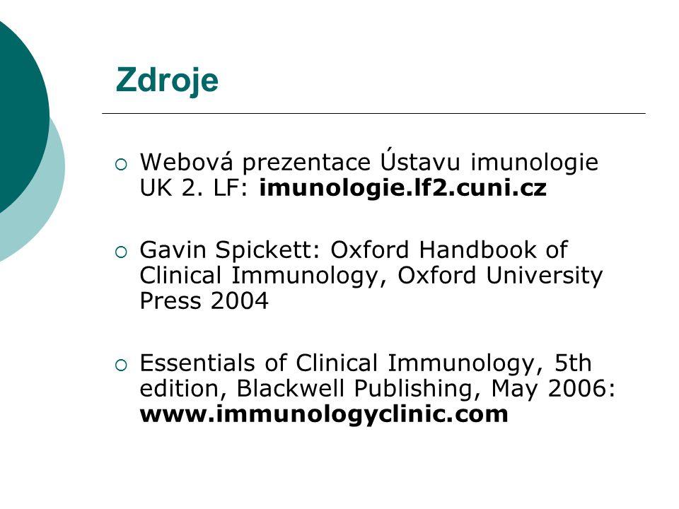 Zdroje Webová prezentace Ústavu imunologie UK 2. LF: imunologie.lf2.cuni.cz.