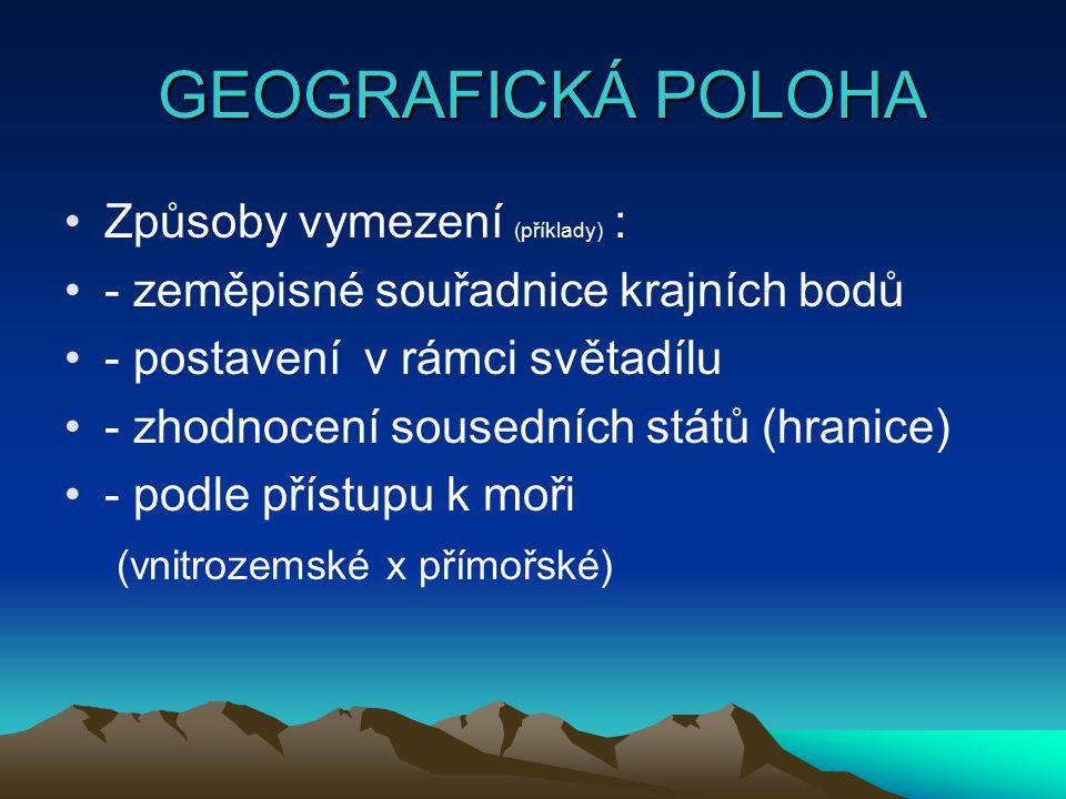 GEOGRAFICKÁ POLOHA Způsoby vymezení (příklady) :