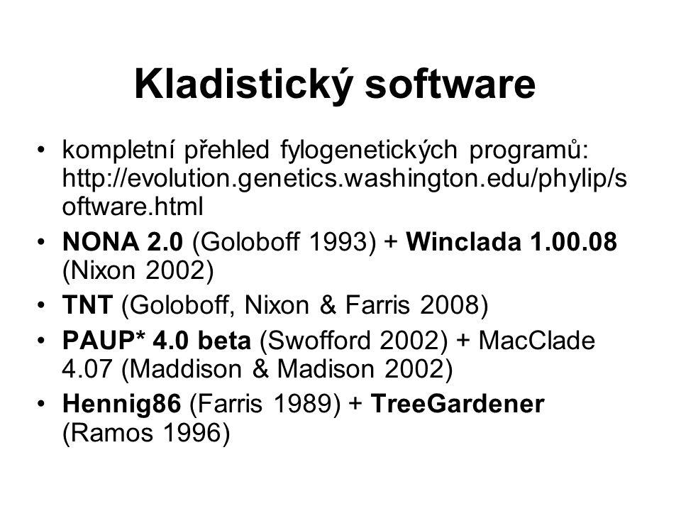 Kladistický software kompletní přehled fylogenetických programů: http://evolution.genetics.washington.edu/phylip/software.html.