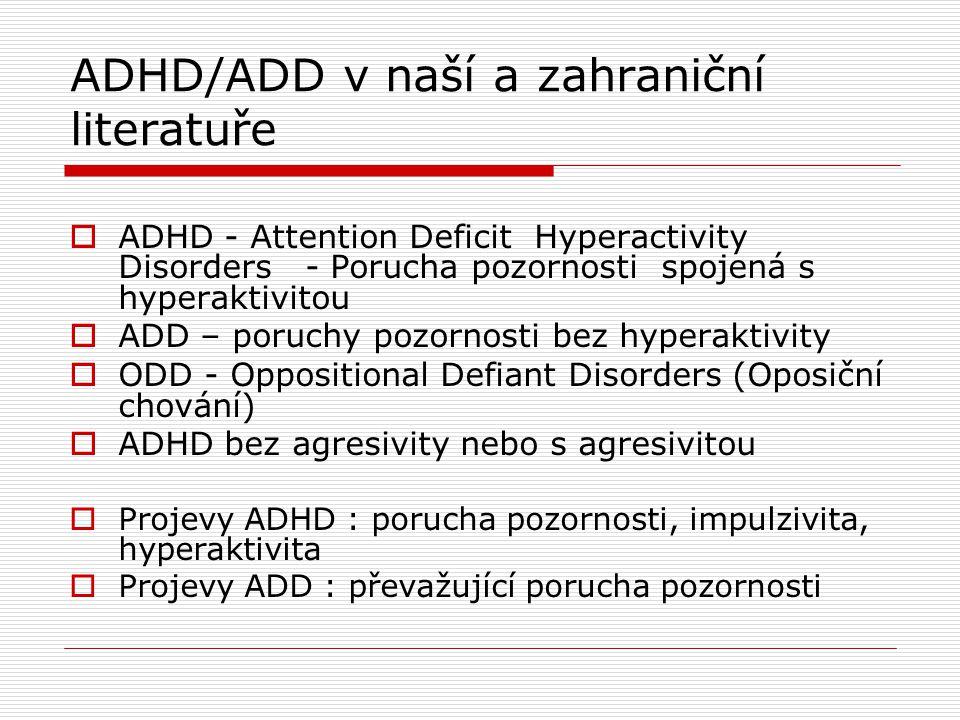 ADHD/ADD v naší a zahraniční literatuře