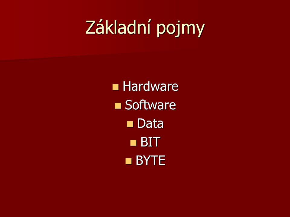 Základní pojmy Hardware Software Data BIT BYTE