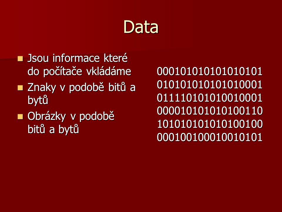 Data Jsou informace které do počítače vkládáme