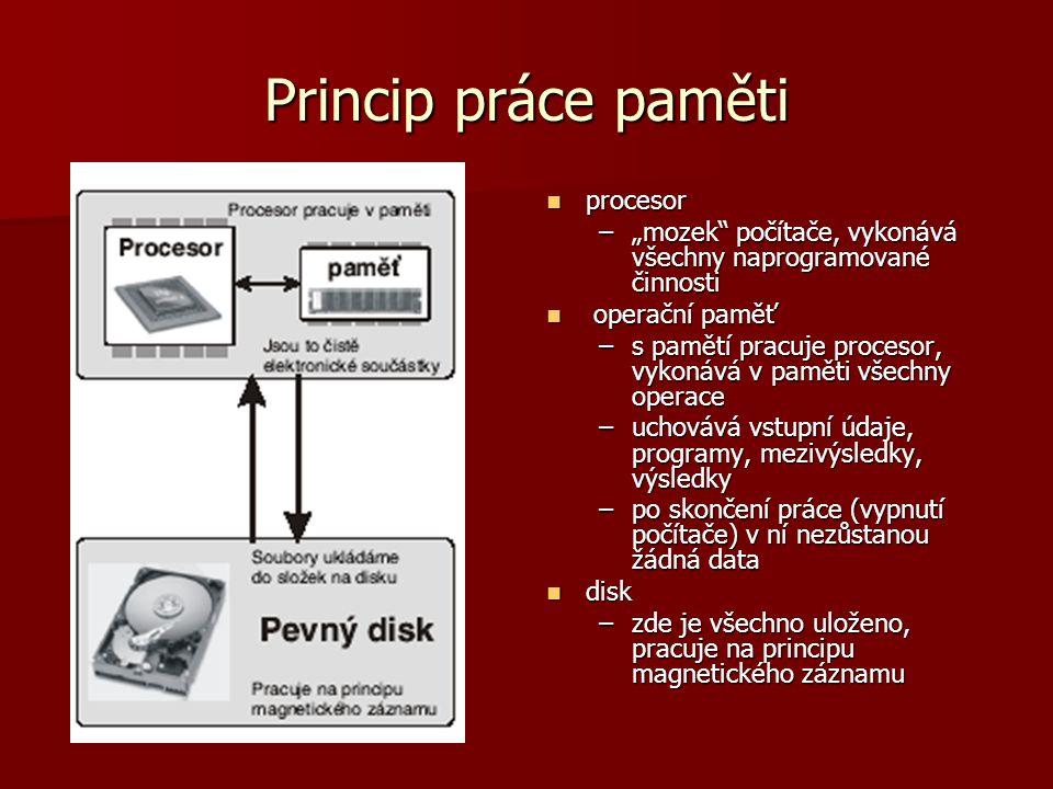 Princip práce paměti procesor