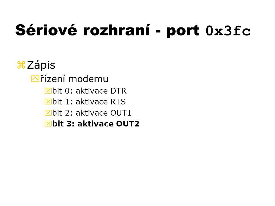 Sériové rozhraní - port 0x3fc