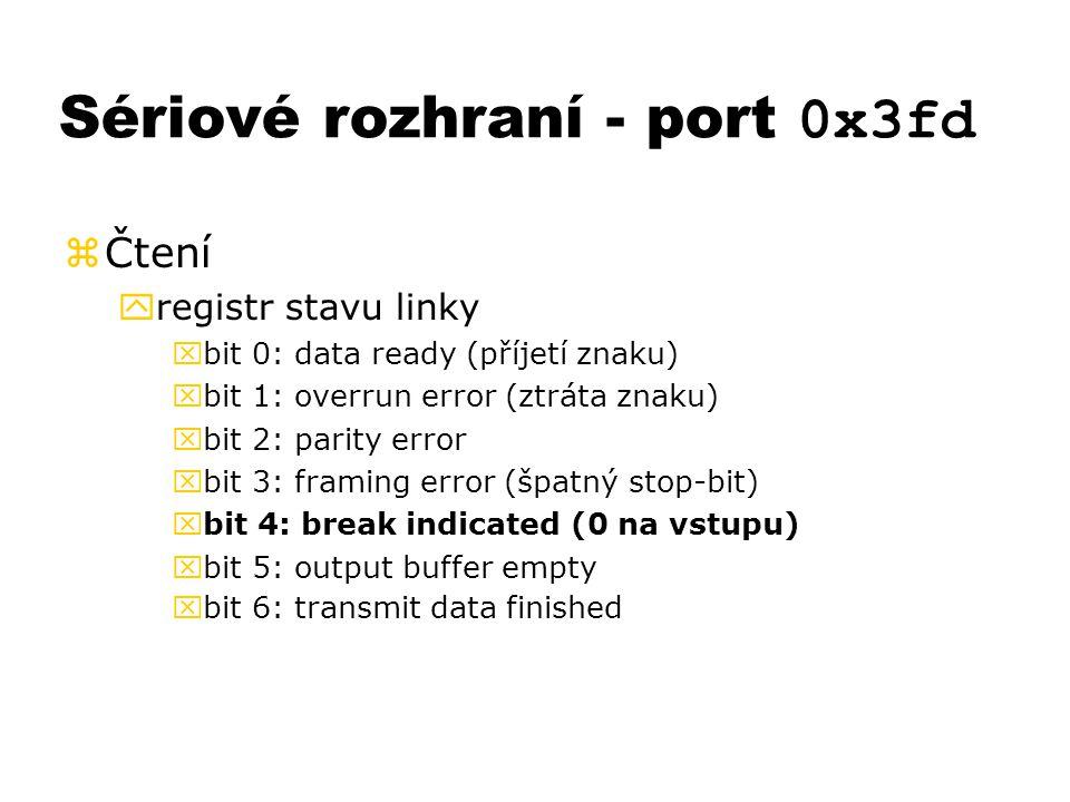 Sériové rozhraní - port 0x3fd