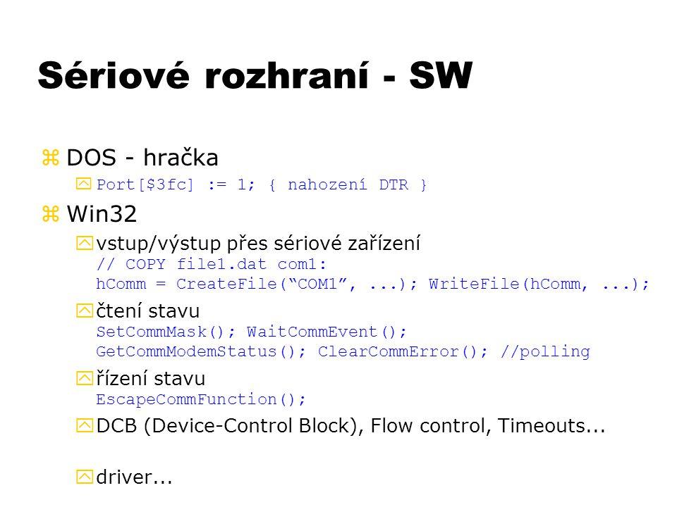 Sériové rozhraní - SW DOS - hračka Win32