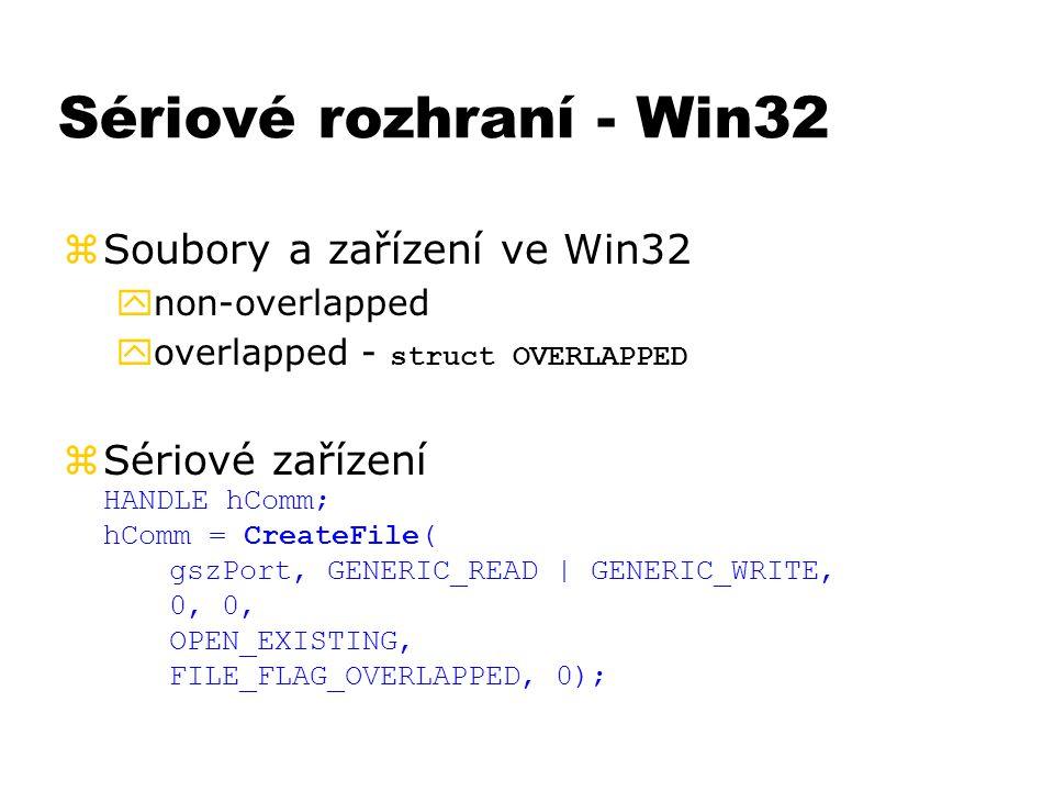 Sériové rozhraní - Win32 Soubory a zařízení ve Win32