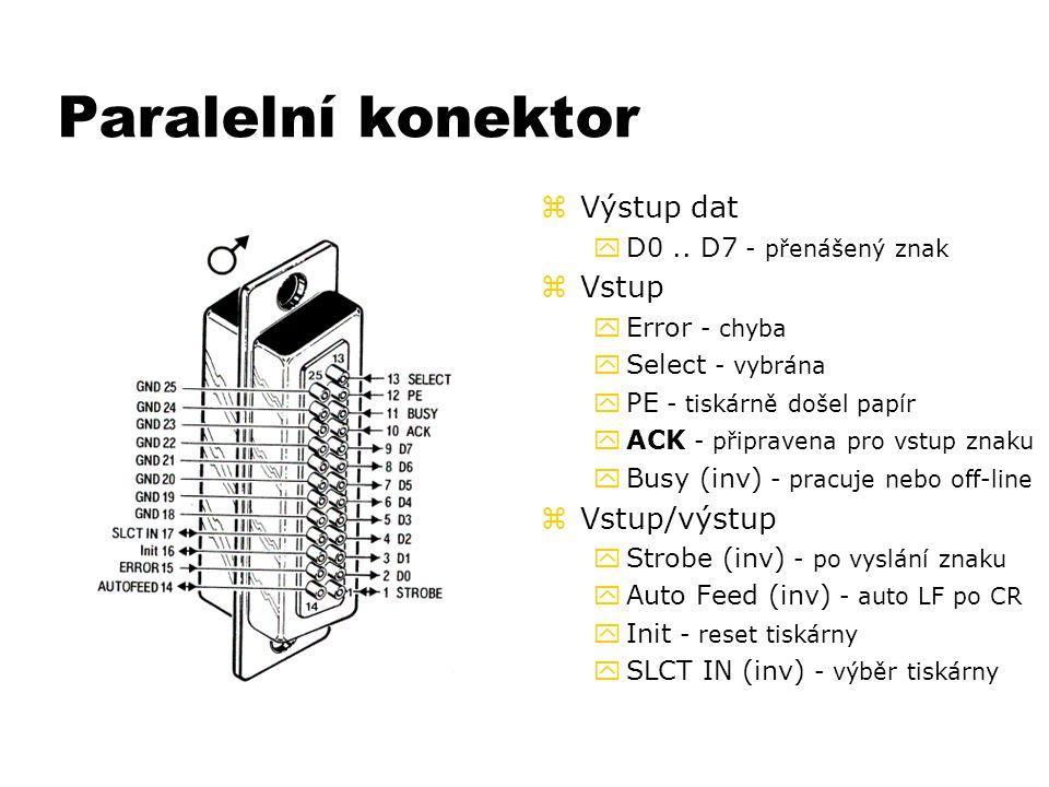 Paralelní konektor Výstup dat Vstup Vstup/výstup