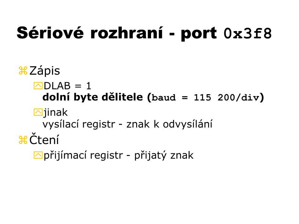 Sériové rozhraní - port 0x3f8
