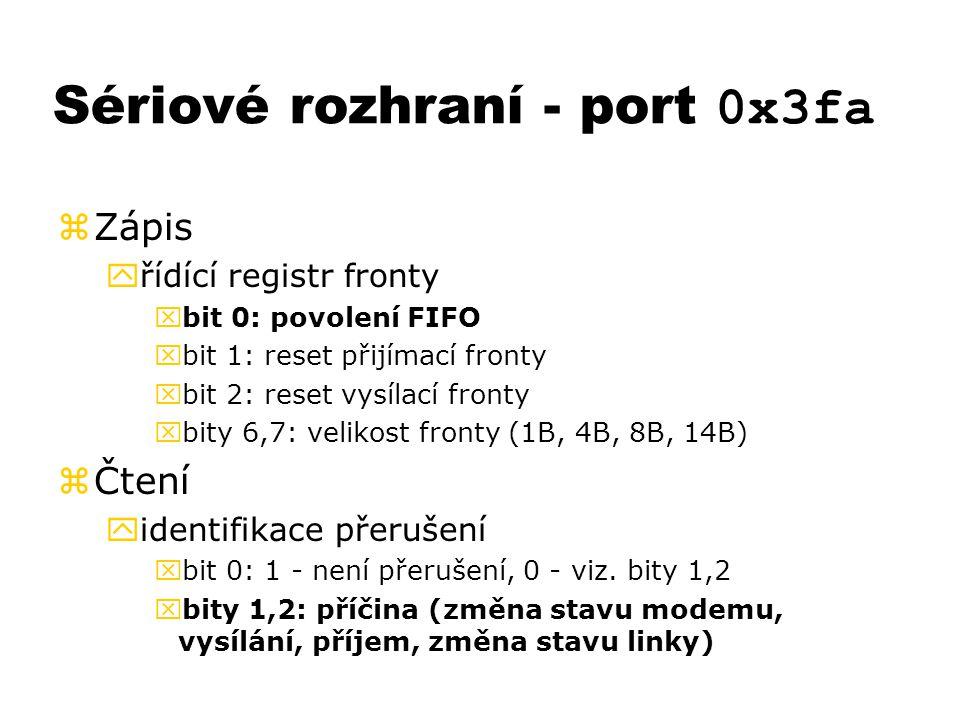 Sériové rozhraní - port 0x3fa