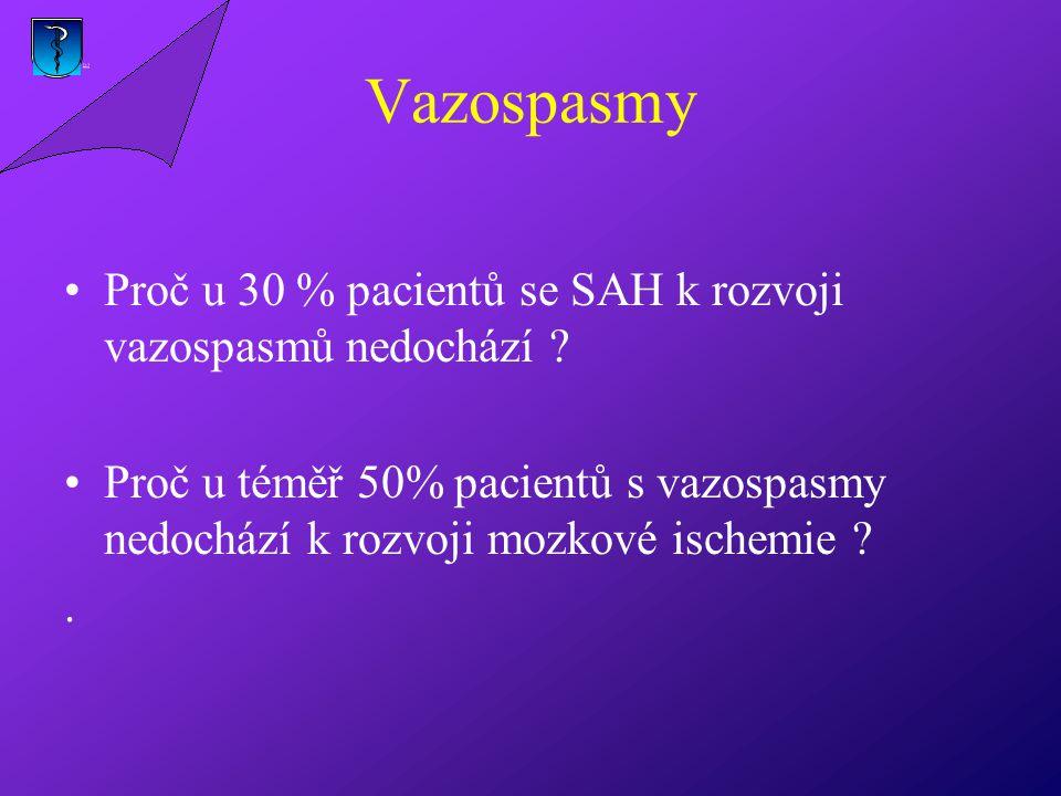 Vazospasmy Proč u 30 % pacientů se SAH k rozvoji vazospasmů nedochází