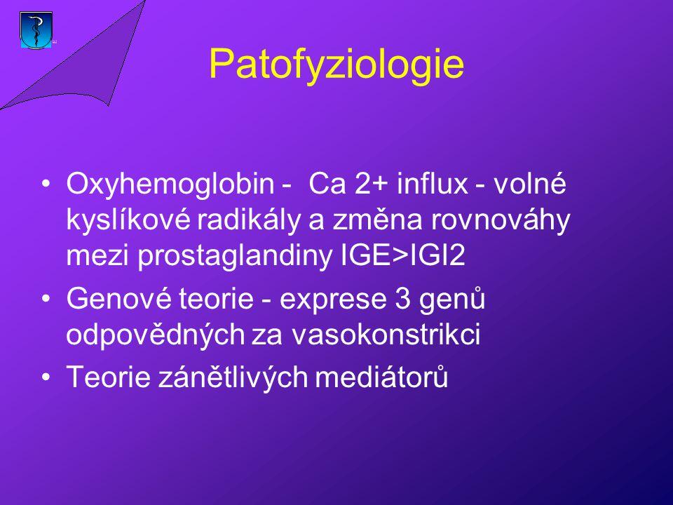 Patofyziologie Oxyhemoglobin - Ca 2+ influx - volné kyslíkové radikály a změna rovnováhy mezi prostaglandiny IGE>IGI2.