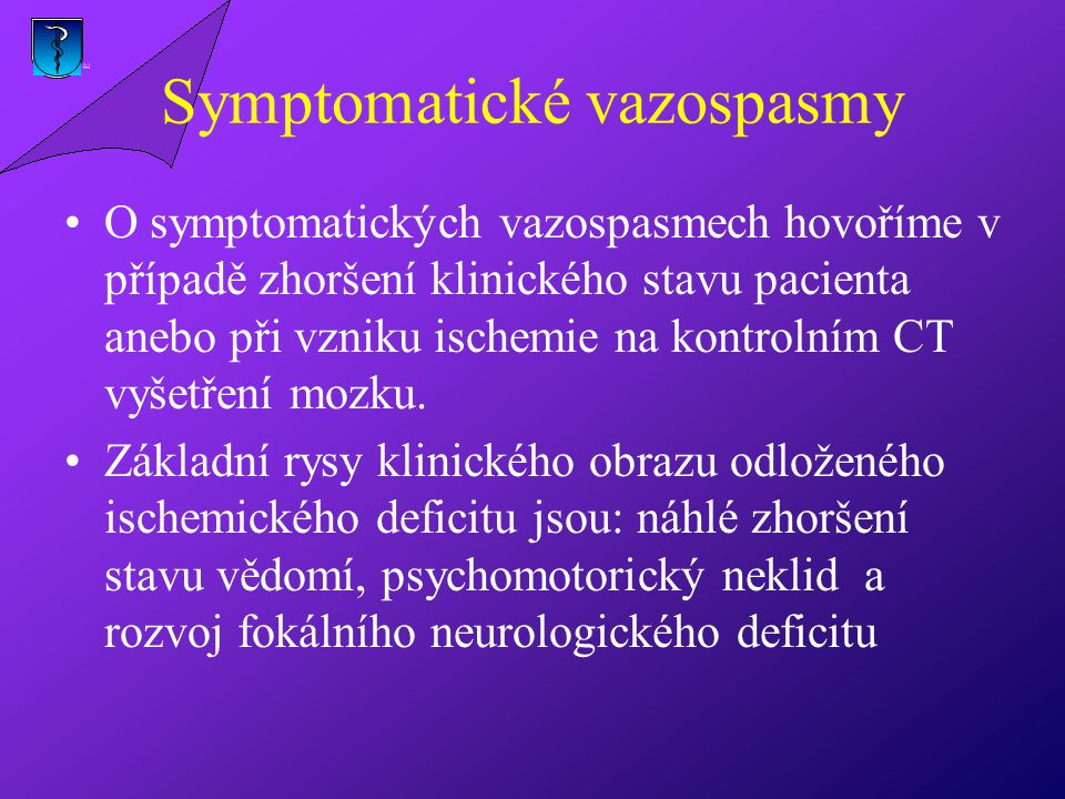 Symptomatické vazospasmy