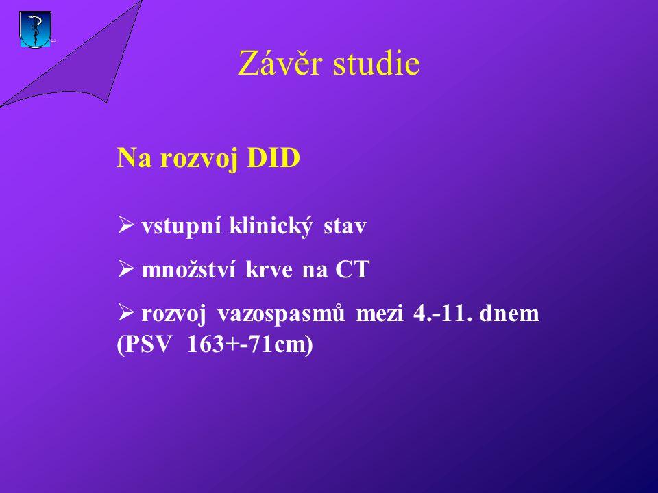 Závěr studie Na rozvoj DID vstupní klinický stav množství krve na CT