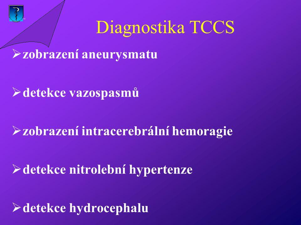 Diagnostika TCCS zobrazení aneurysmatu detekce vazospasmů
