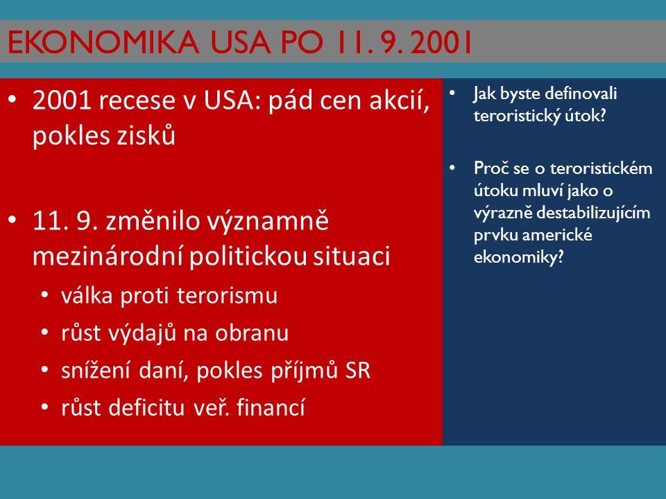 EKONOMIKA USA PO 11. 9. 2001 2001 recese v USA: pád cen akcií, pokles zisků. 11. 9. změnilo významně mezinárodní politickou situaci.