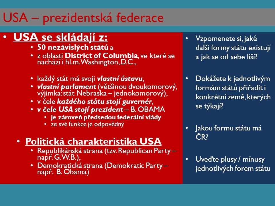 USA – prezidentská federace