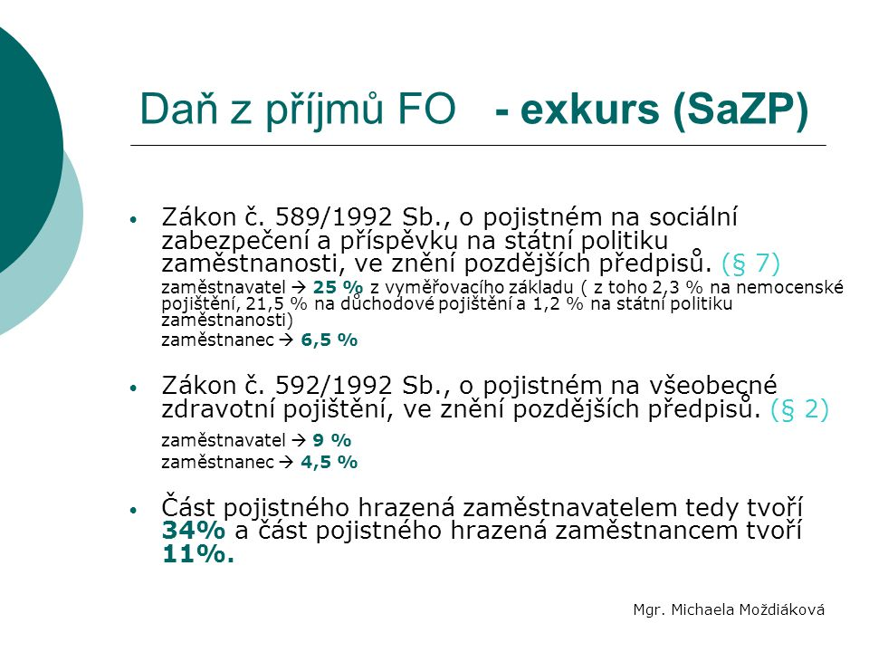 Daň z příjmů FO - exkurs (SaZP)