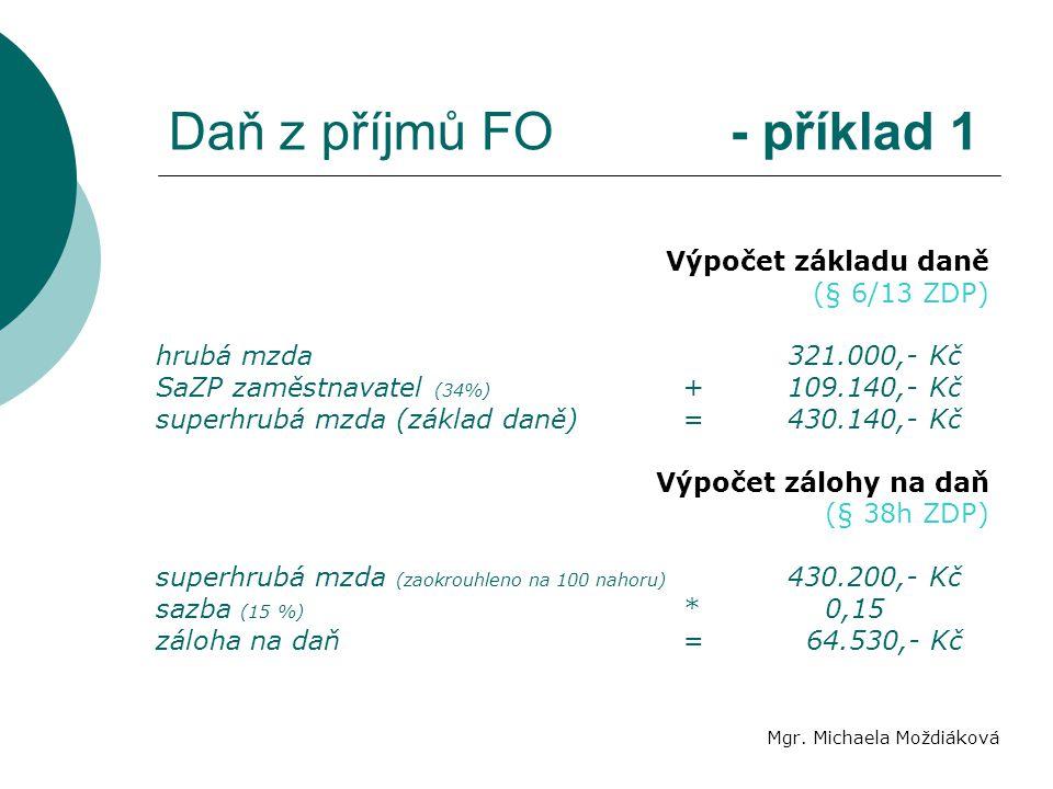 Daň z příjmů FO - příklad 1