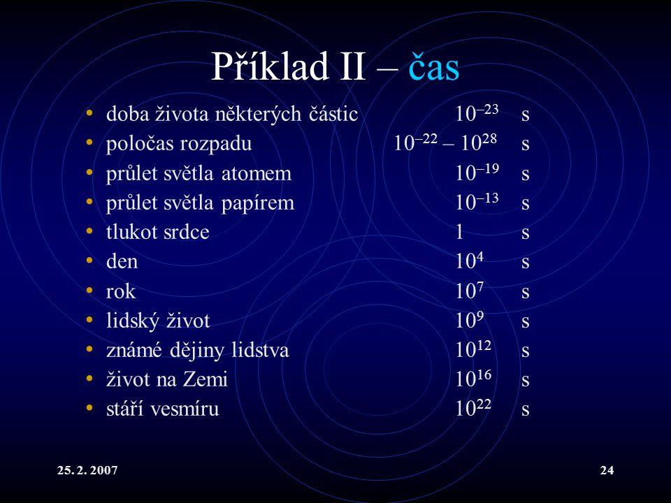 Příklad II – čas doba života některých částic 10–23 s