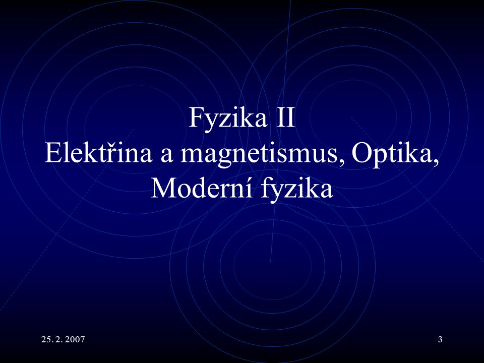 Fyzika II Elektřina a magnetismus, Optika, Moderní fyzika