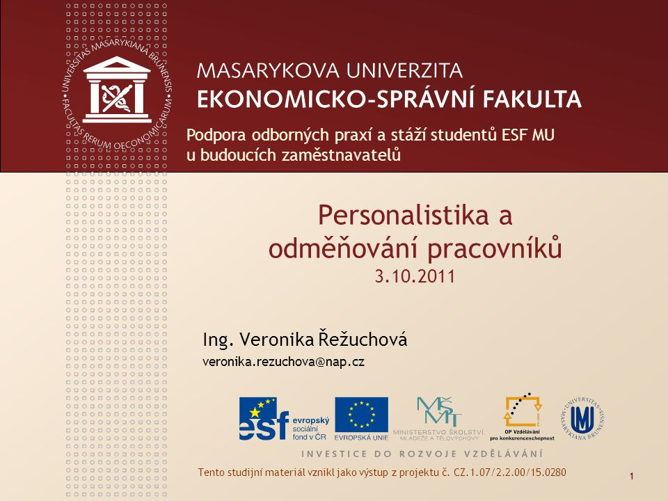 Personalistika a odměňování pracovníků 3.10.2011
