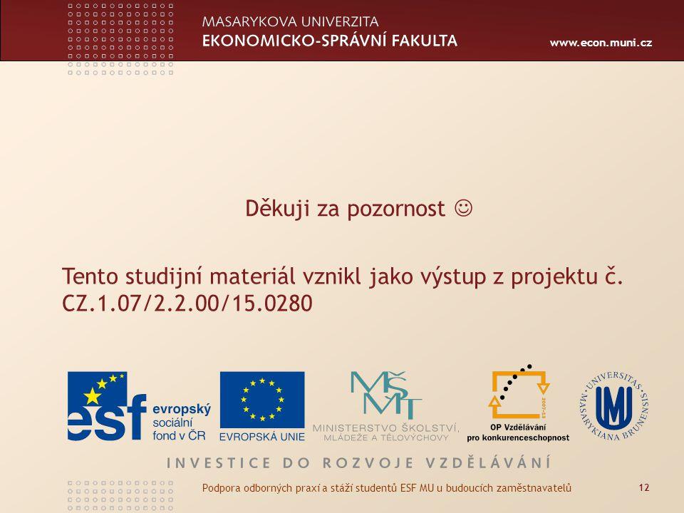 Děkuji za pozornost  Tento studijní materiál vznikl jako výstup z projektu č. CZ.1.07/2.2.00/15.0280.