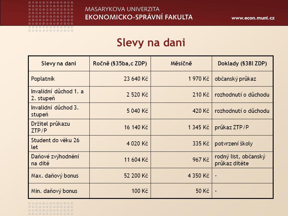 Slevy na dani Slevy na dani Ročně (§35ba,c ZDP) Měsíčně