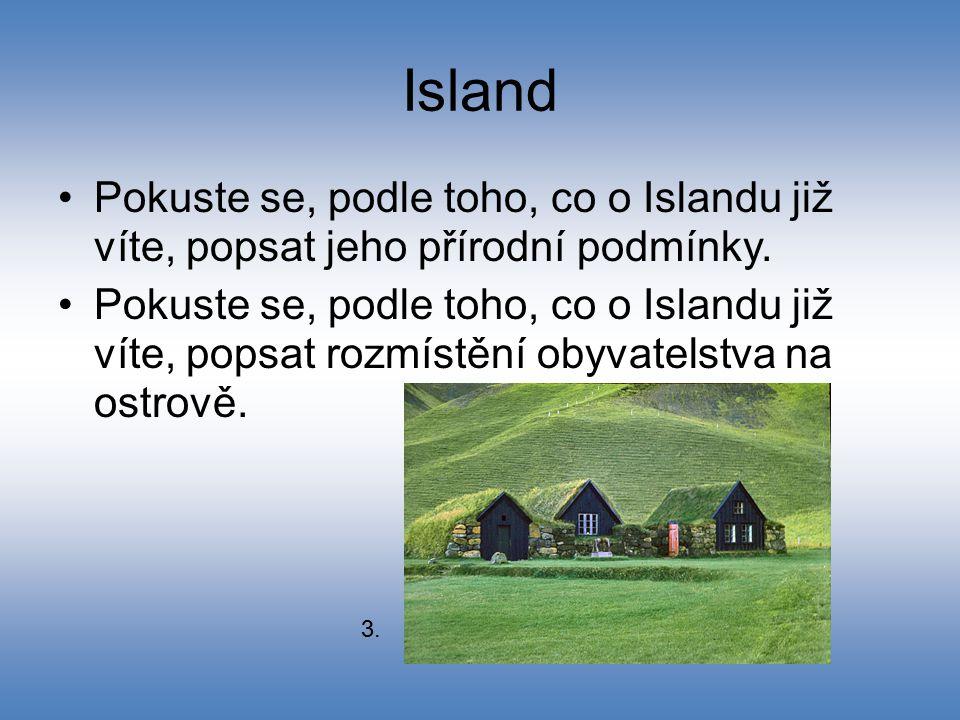 Island Pokuste se, podle toho, co o Islandu již víte, popsat jeho přírodní podmínky.