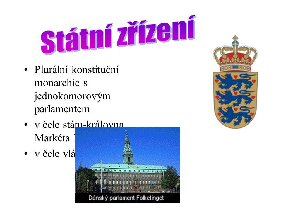 Státní zřízení Plurální konstituční monarchie s jednokomorovým parlamentem. v čele státu-královna Markéta II.