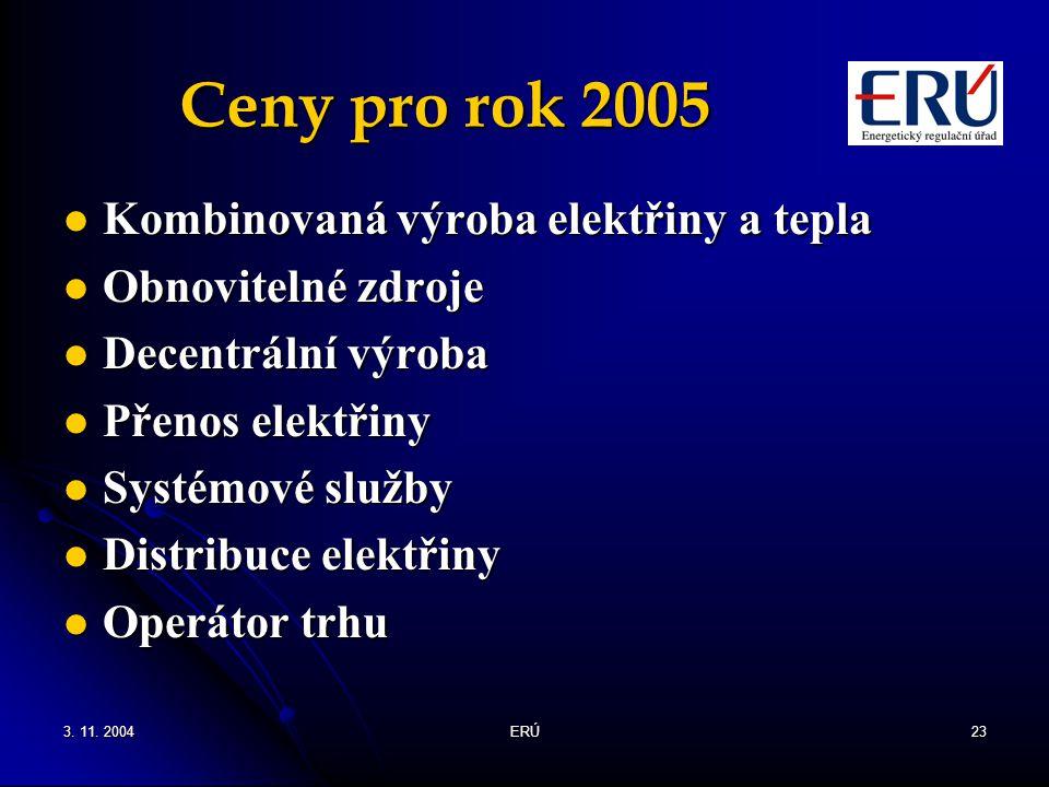 Ceny pro rok 2005 Kombinovaná výroba elektřiny a tepla