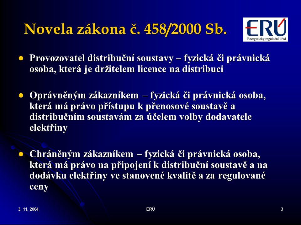 Novela zákona č. 458/2000 Sb. Provozovatel distribuční soustavy – fyzická či právnická osoba, která je držitelem licence na distribuci.