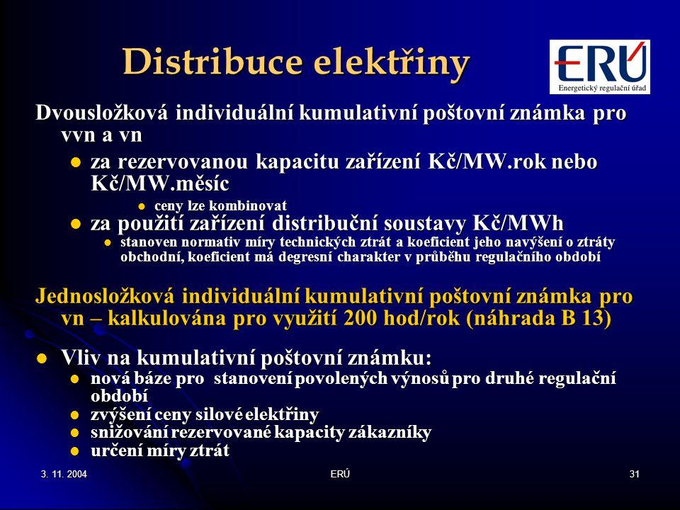 Distribuce elektřiny Dvousložková individuální kumulativní poštovní známka pro vvn a vn.