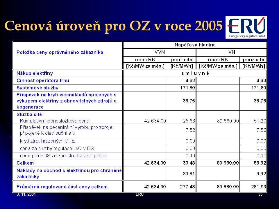 Cenová úroveň pro OZ v roce 2005