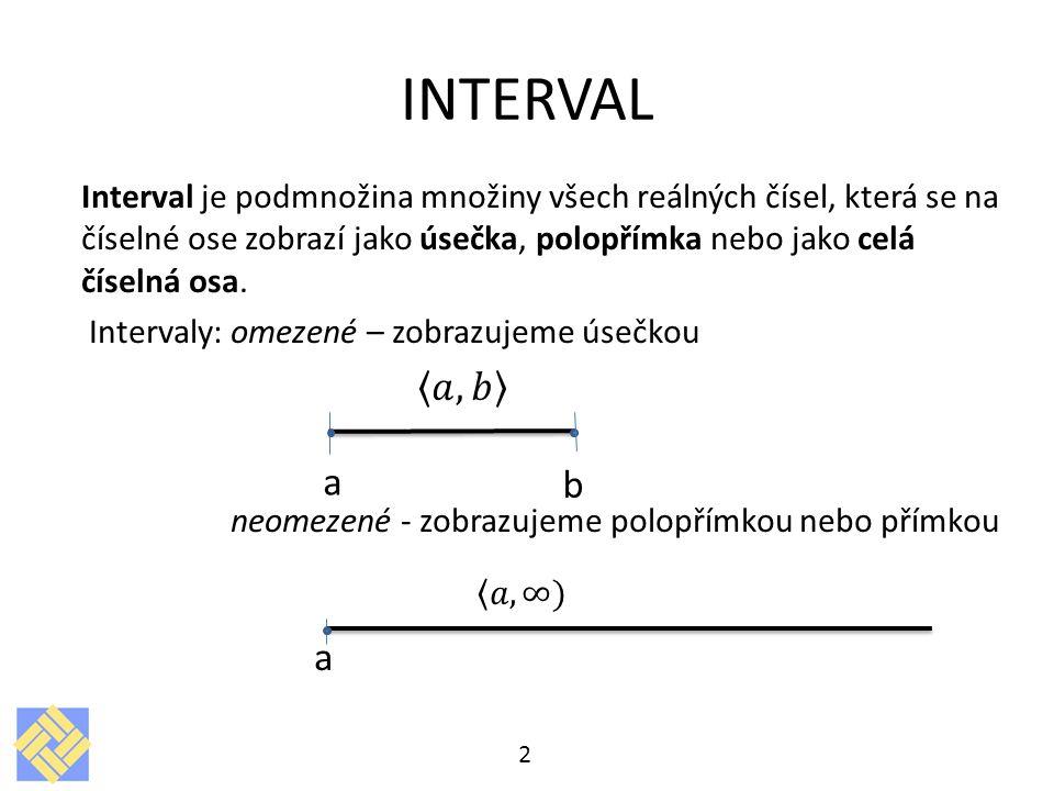 INTERVAL Interval je podmnožina množiny všech reálných čísel, která se na číselné ose zobrazí jako úsečka, polopřímka nebo jako celá číselná osa.