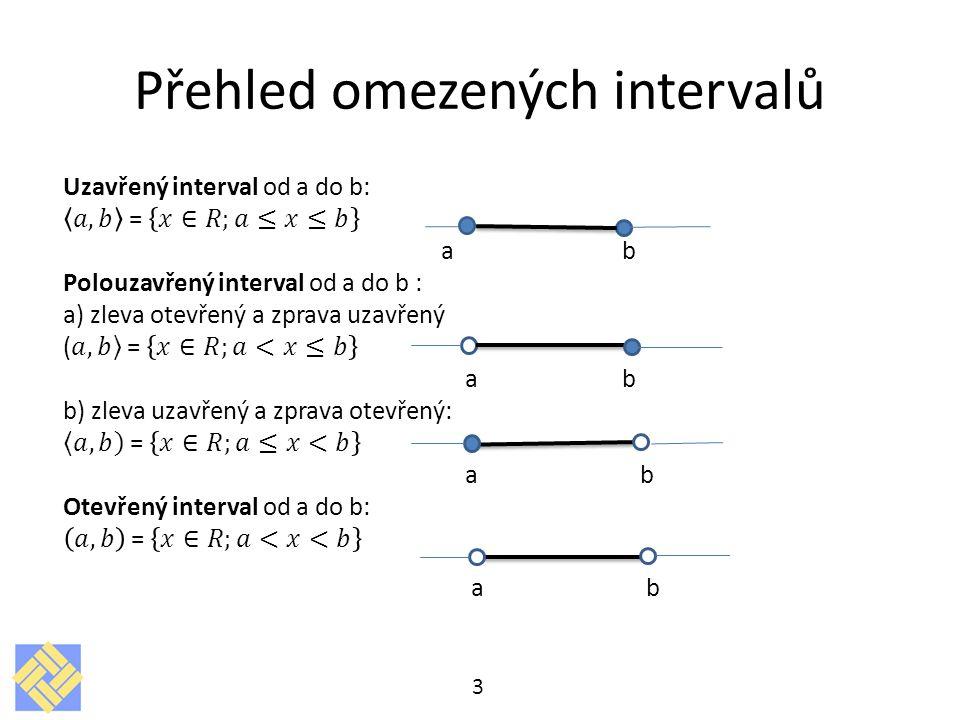 Přehled omezených intervalů