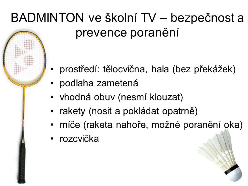 BADMINTON ve školní TV – bezpečnost a prevence poranění