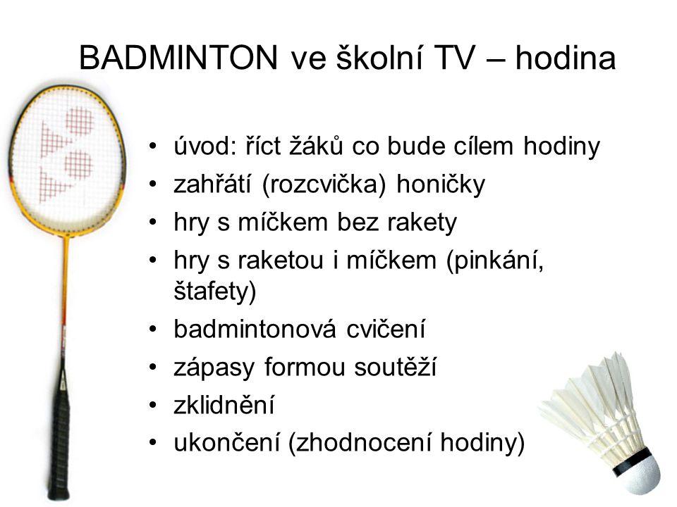 BADMINTON ve školní TV – hodina