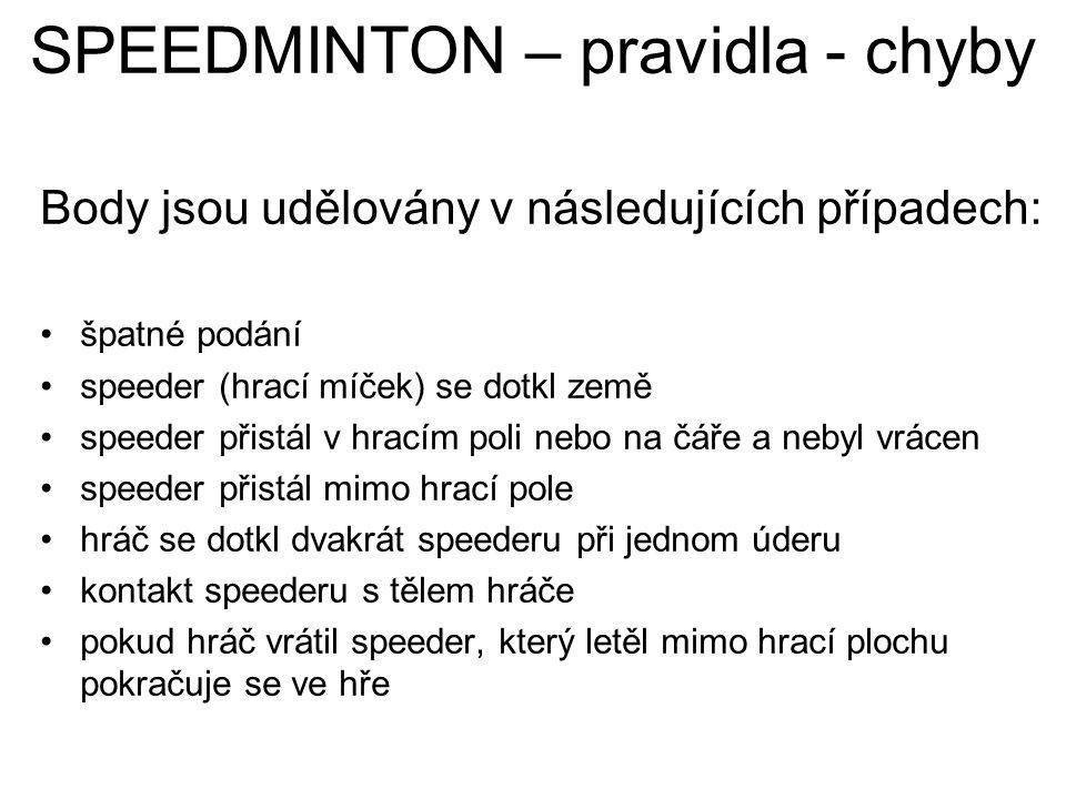 SPEEDMINTON – pravidla - chyby