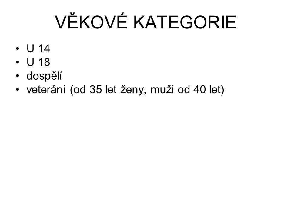 VĚKOVÉ KATEGORIE U 14 U 18 dospělí