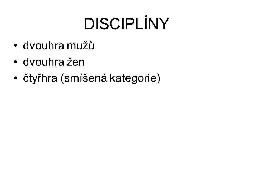 DISCIPLÍNY dvouhra mužů dvouhra žen čtyřhra (smíšená kategorie)