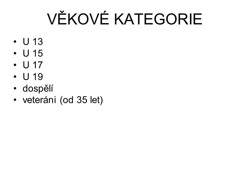 VĚKOVÉ KATEGORIE U 13 U 15 U 17 U 19 dospělí veteráni (od 35 let)