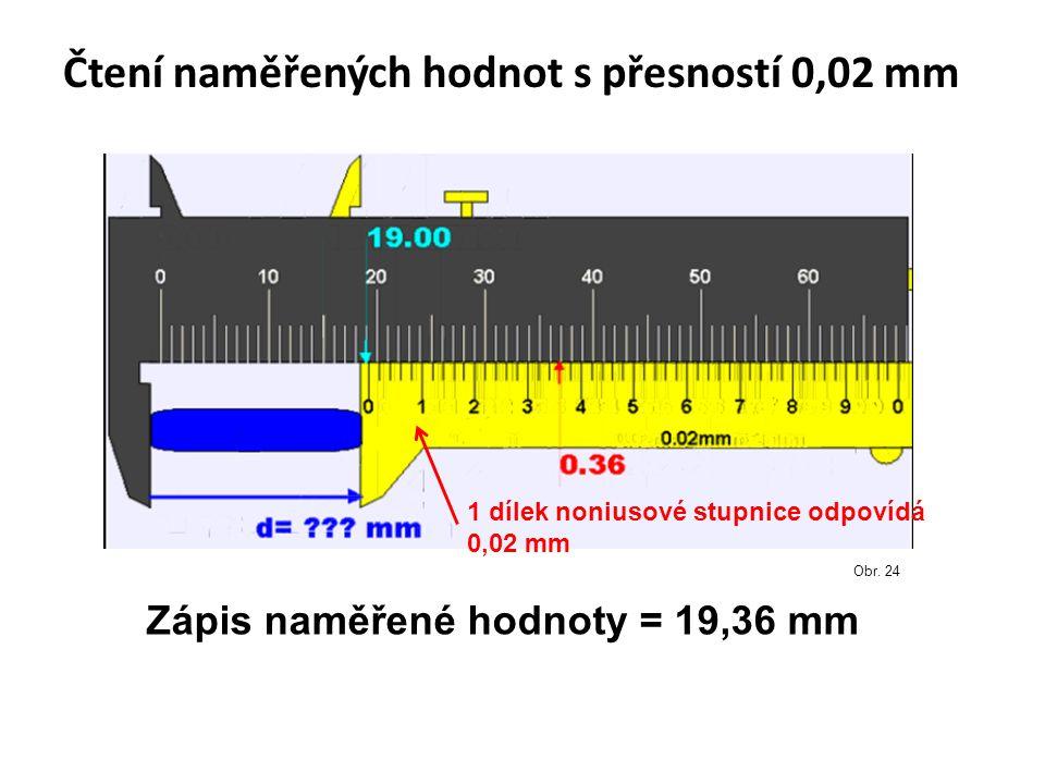 Čtení naměřených hodnot s přesností 0,02 mm