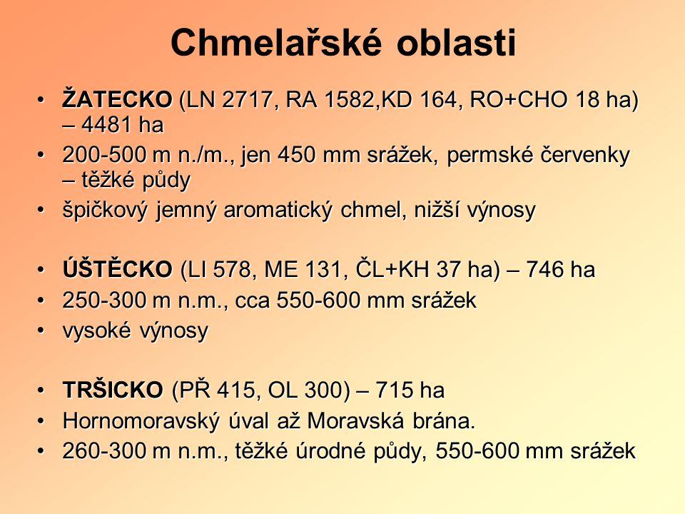 Chmelařské oblasti ŽATECKO (LN 2717, RA 1582,KD 164, RO+CHO 18 ha) – 4481 ha. 200-500 m n./m., jen 450 mm srážek, permské červenky – těžké půdy.