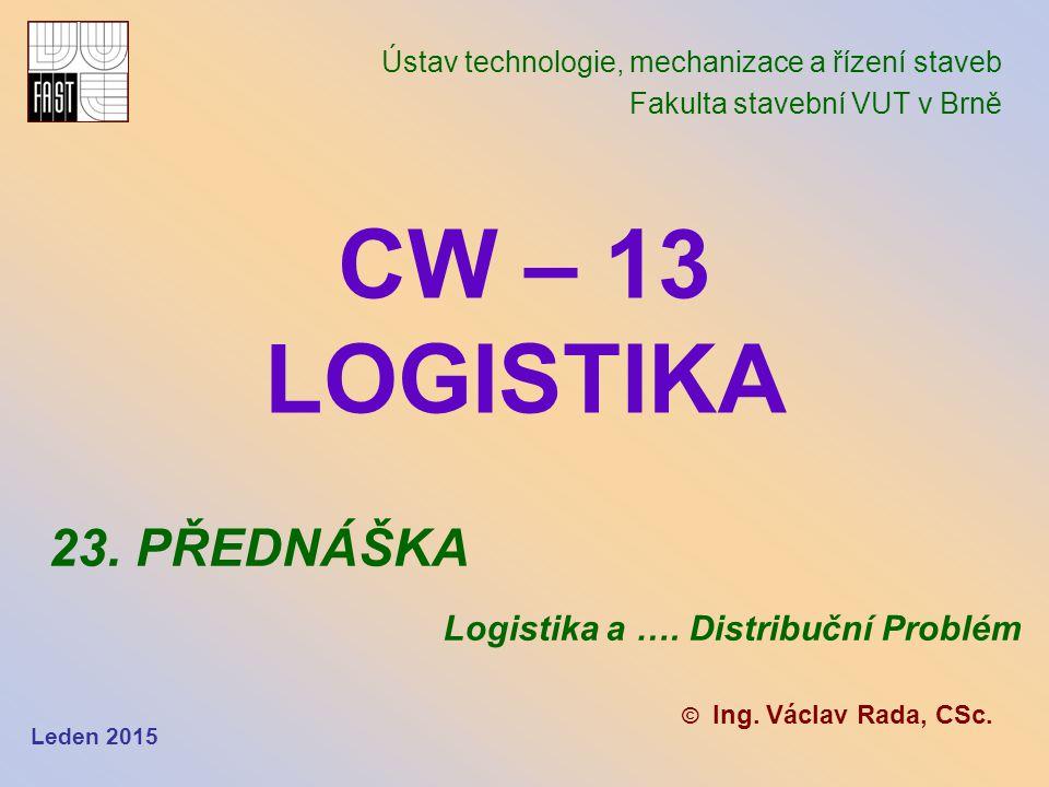 CW – 13 LOGISTIKA 23. PŘEDNÁŠKA Logistika a …. Distribuční Problém