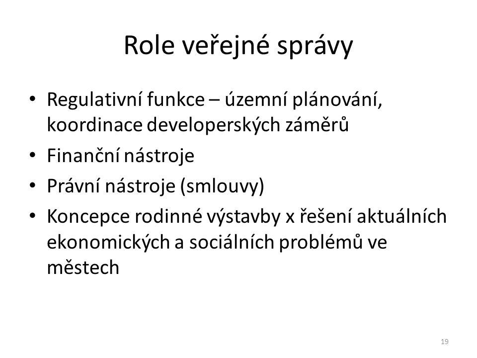 Role veřejné správy Regulativní funkce – územní plánování, koordinace developerských záměrů. Finanční nástroje.