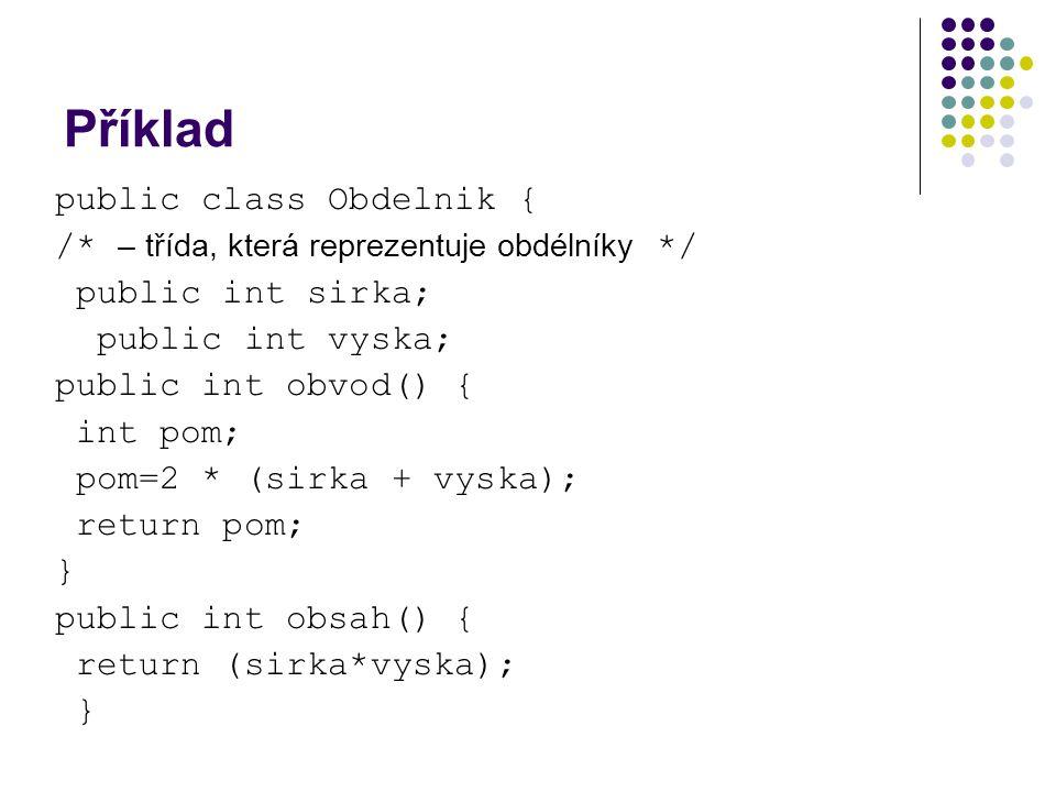 Příklad public class Obdelnik {