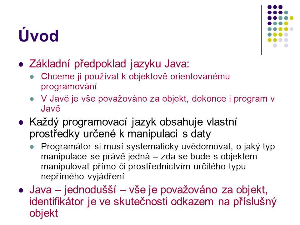 Úvod Základní předpoklad jazyku Java: