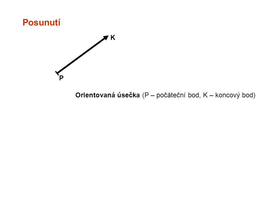 Posunutí K P Orientovaná úsečka (P – počáteční bod, K – koncový bod)