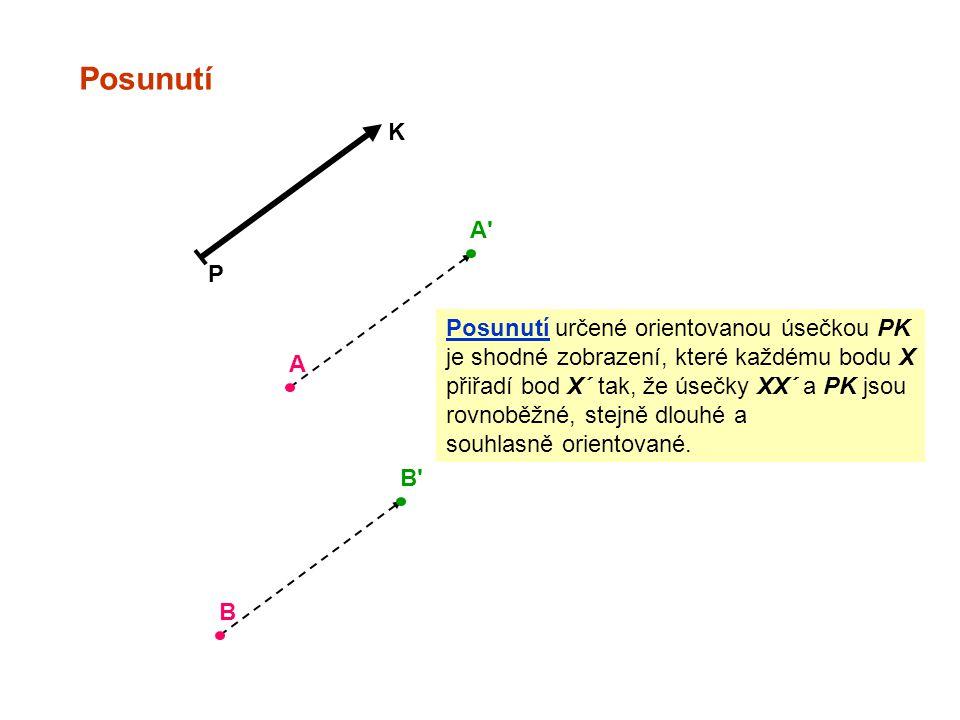 Posunutí K A P Posunutí určené orientovanou úsečkou PK